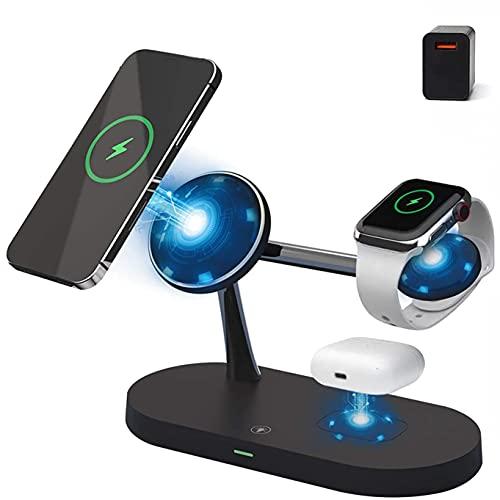 Xflelectronic Cargador inalámbrico magnético 3 en 1 con Adaptador QC3.0 Base de estación de Carga rápida para iPhone 12 / Pro/Pro MAX/Mini/IWatch 2-6 / SE y AirPods 2 / Pro