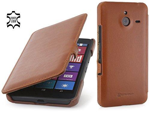 StilGut Book Type Hülle mit Clip, Hülle aus Leder für Microsoft Lumia 640 XL / 640 XL Dual SIM, Cognac