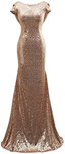 Aiyana Gold Mermaid V-Neck Backless Long Bridesmaid Dresses Sequins Wedding Party Gown 14