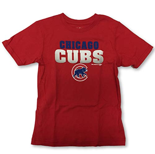 Chicago Cubs Boy's Youth Crew Neck T-Shirts (X-Large 16/18, Red)