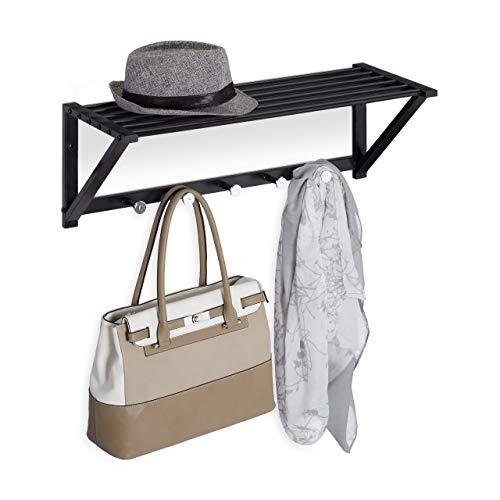 Relaxdays Perchero de pared con estante, perchero de 5 ganchos, para pasillo y baño, moderno, metal, 23 x 65 x 25 cm, color negro