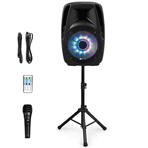 Sonart 15' 1500W Powered Speakers, 2-Way Full Range Portable PA Speaker System Combo Set With Stands/Illuminating Light/Microphone/EQ/USB/Bluetooth