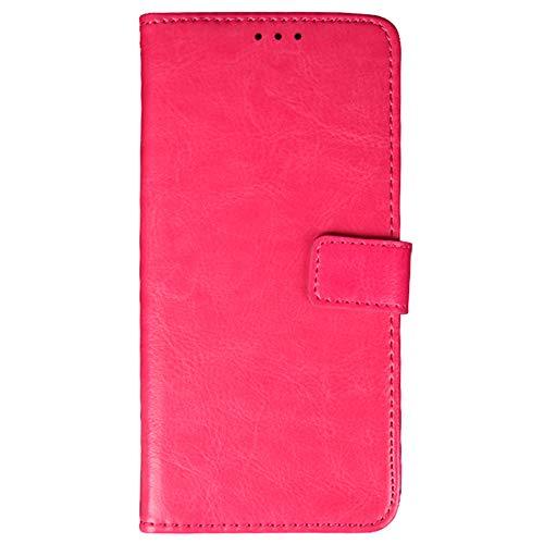 Funda para ZTE Blade V Smart Carcasa de Teléfono de Cuero PU Premium Estuche Protector para Billetera con Tapa Magnética, Compatible con ZTE Blade V Smart, Rosa roja
