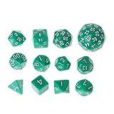 YOUAI Dice, 12 Pieces/Set Multi-Sided Polyhedral Dice D4 D6 D8 D10 D12 D20 D24 D30 D60 Dungeons-Green