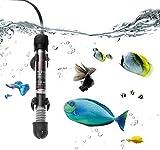 Sumairs PECHTY - Calefactor para acuario, 50 W, bajo el agua, con termómetro y ventosa, para acuarios de agua dulce y salada