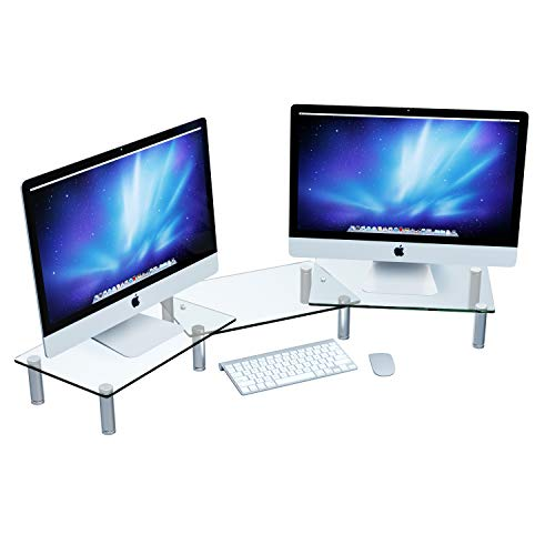 Adjustable Dual Monitor Stand Riser for Computer Desk & Laptop, Office Organizer Corner Shelf Mount & Storage for Desktop in Glass for Double Monitors, Printer, Accessories, Two Screen (Clear)