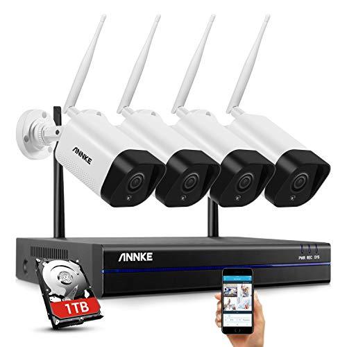 ANNKE 1080P Überwachungskamera Set,8CH drahtloses H.264+ CCTV Videoüberwachung NVR Sicherheitskamera System Wasserfesten 4 * 1080P IP Kameras Indoor&Outdoor mit 30M Nachtsicht(eingebaute 1TB HDD)