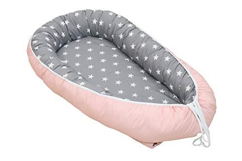 ULLENBOOM Babynest Rosa Grau (55x95 cm Baby Cocoon, Kuschelnest aus Baumwolle, als Baby Reisebett, Kuschelbett geeignet, Motiv: Sterne, Punkte)