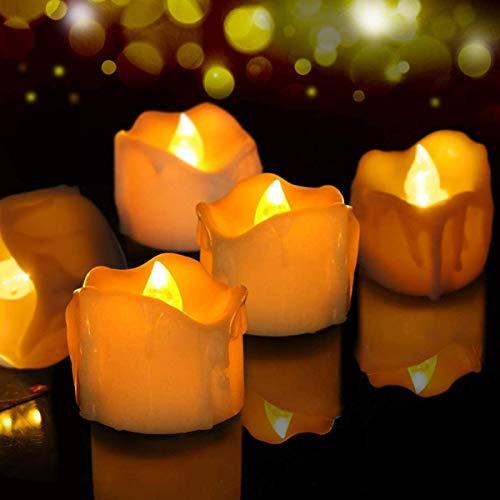 LED Kerzen, FOCHEA 12er Set Flammenloses LED Kerzen/Teelichter/LED Teelicht Batteriebetriebener mit Timer-Funktion, 6 Stunden an und 18 Stunden aus für Weihnachtsdek Hochzeit (Gelb)