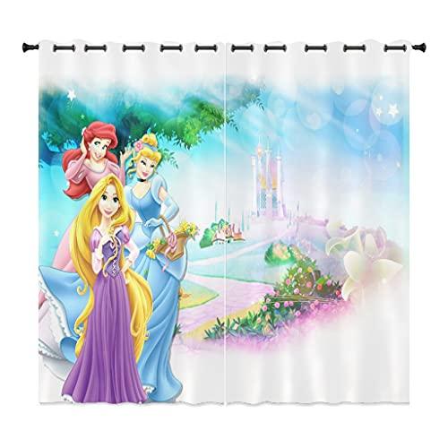 Fgolphd Cortina opaca de princesa Disney con dibujos animados Bella Rapunzel, juego de 2 cortinas opacas para habitación infantil (280 x 245 x 8)