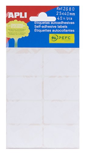 APLI 2680 - Etiquetas blancas adhesivo fuerte (25 x 40) 6 hojas