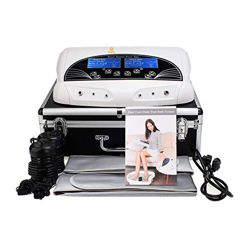 Ionic Ion Detox Machine Foot Bath Holiday Gift Cell Cleanse Negative Hydrogen System for Dual Users by Healcity with Far Belts & Colored LCD