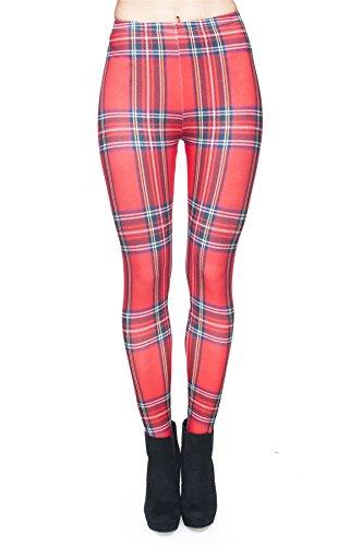 kukubird Printed Patterns Women\'s Yoga Leggings Gym Fitness Running Pilates Tights Skinny Pants 8 to 12 Stretchable - Tartan Red