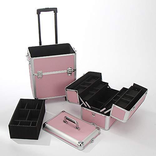 BYCDD Valigia per Trucco Professionale, Trolley Valigia Make Up Art Valigia Cofanetto per Estetista Parrucchiere Sacchetti,Pink