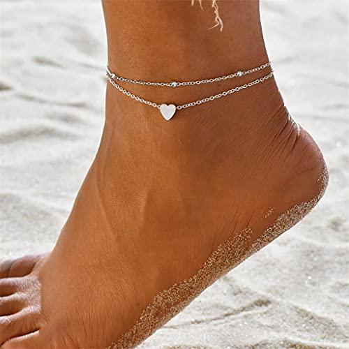 Feigner Damen Fußkette mit kleinem Herz in Silber Gold mit Vergoldung,Frauen Schmuck aus Edelstahl,Doppelkette Edelstahl für Mädchen mit Verschluss