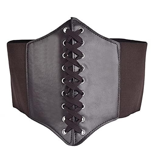 HONGCANG Luxury brand design corset wide belt PU leather slimming belt Ladies elastic belt Cinto Sobretudo Feminin Ceinture Femme Fajas-ZT284 brown,One Size