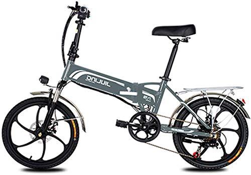 Bicicleta, bicicleta eléctrica plegable, bicicleta eléctrica de 20 'con 48V 10.5 / 12.5AH Batería extraíble de iones de litio, motor 350W y equipo profesional de 7 velocidades (color: blanco, Tamaño: