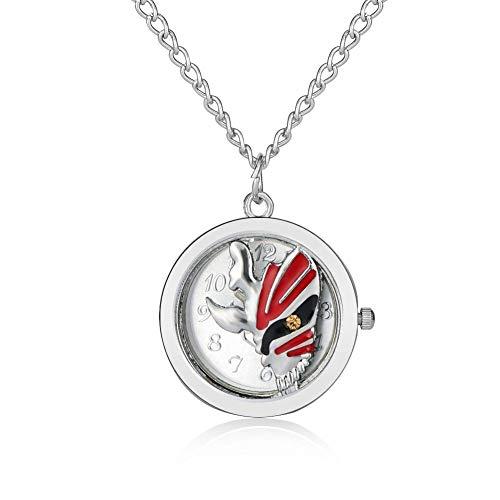 WYZQ Einzigartige Maskendesign-Verschluss-Taschenuhr für Männer, Premium-Silber-Silbergehäuse-Taschenuhren für Damen, schöne schlanke Ketten-Anhängeruhr für Mädchen , Taschenuhr und Kette Persona