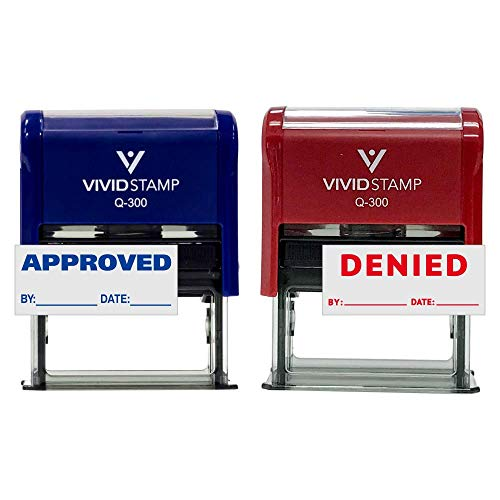 Approved/Denied by Date Self Inking Rubber Stamp - 2 Pack (Blue Ink/Red Ink) Large