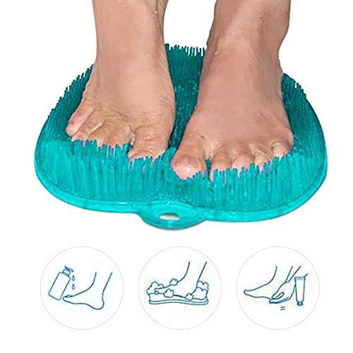 jinclonder Shower Foot Scrubber Brush Cleaner Massager con ventosas Antideslizantes, Proporciona circulación de pies, SPA de pies, exfoliación, Esterilla de acupresión, Limpiador de pies