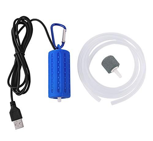 Useekoo 5V ミニ アクアリウムエアポンプ USB 水槽 釣り エアストーンとシリコンチューブ付き ダークブルー