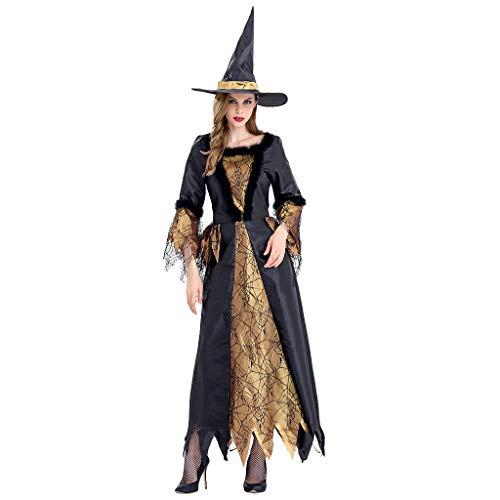 💃PLOT Damen Halloween Kostüm Kleid Cosplay Kostüm Black Witches Maxi Kleider mit Hut Frauen Langes Kleid Sexy Hexe Kostüm