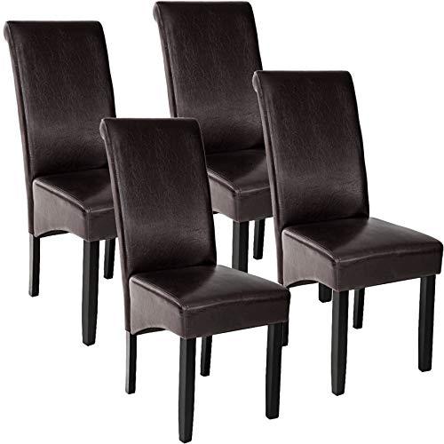 TecTake 4er Set Luxus Esszimmerstuhl Kunstleder Stuhl mit hoher Rückenlehne, ergonomische Form, Stuhlbeine aus Hartholz massiv, 106 cm hoch - Diverse Farben - (Braun | Nr. 403496)