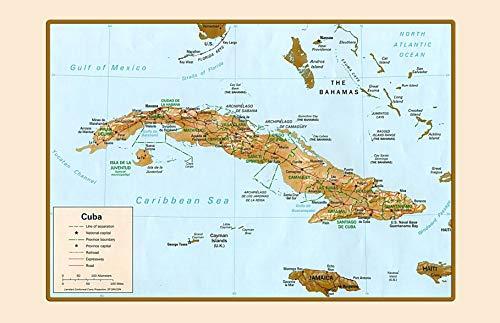 Cuba Map kaart ografisch metalen bord bord bord gebogen metalen plaat metalen plaat plaat plaat metaal Tin Sign 20 x 30 cm