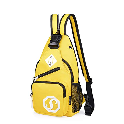 FANDARE Mode Sling Bag Rucksack Umhängetasche Brusttasche Messenger Bag Schultertasche Hiking Bag Daypack Crossbody Bag Chest Pack Sports Reisetasche Wasserdicht Polyester Gelb