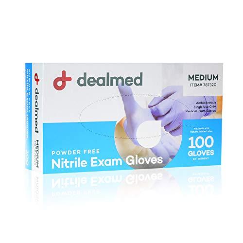 Dealmed Nitrile Medical Grade Exam Gloves, Disposable Latex Free, Medium, 100 ct. (Pack of 1)