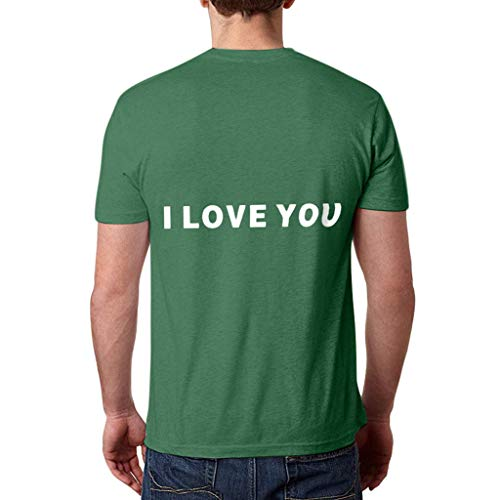 WOZOW Kurzarm Shirts Herren Slogan I Love You 3000 Times for Ironman Hearts Muster Print Druck Oberteile Tops Solid O Ausschnitt Loose Lose...