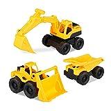 Relaxdays Spielzeug Baufahrzeuge, 3er Set mit Bagger, Frontlader & LKW, für Sandkasten & Kinderzimmer, aus Kunststoff