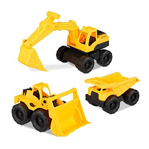 Relaxdays - Einfache Auto- & Verkehrsmodelle in Gelb, Größe 3er Set