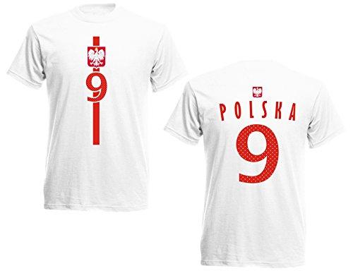 Polen Polska Herren T-Shirt Nummer 9 Trikot Fußball Mini EM 2016 T-Shirt - S M L XL XXL - Weiss NC ST-1 (L)