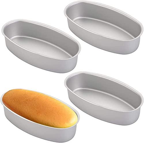 Yesland 4 Stück Ovale Käsekuchenform, 23 cm Antihaftbeschichtete Ovale Kuchenform, Käseform, Aluminium-Brotbackformen/Kuchenform für Backofen, Topfbacken zu Hause, Küche und Bäckerei (Silber)