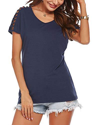 Meaneor Damen T-Shirt Sommer Kurzarm V Ausschnitt Shirt Frau Cold Shoulder Oberteile Elegant Sexy Schulterfrei Bluse Tops Einfarbig Blau L