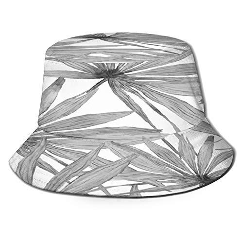 TTLUCKY Sombrero de Pesca,Vector Banners Acuarela Abstracta con Hojas De Palma,Senderismo para Hombres y Mujeres al Aire Libre Sombrero de Cubo Sombrero para el Sol