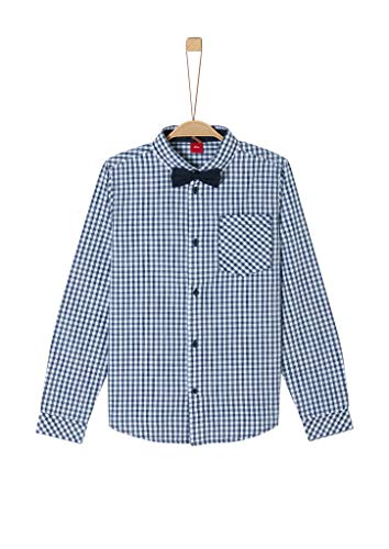 s.Oliver RED LABEL Jungen Slim: Hemd mit abnehmbarer Fliege dark blue check L.SLIM