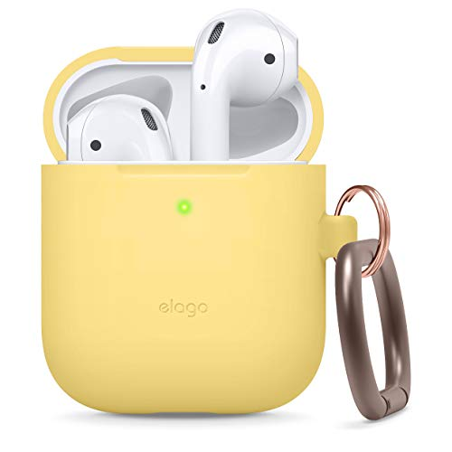 Elago Silicone Hang Case Compatible with Apple AirPods 1 & 2 (Front LED Not Visible) -  Supports Wireless Charging]  Extra Protection]  Added Carabiner] - Yellow