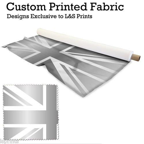 1 Silber England Flagge pro Meter Design Digitaldruck Stoff Mikrofaser Peachy 57