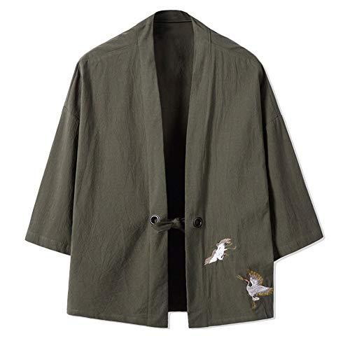 LIZANAN Retro Men 's dünne Jacken-Stickerei Crane Coat [Grün, Größe 3XL]...