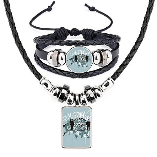 Conjunto de joias de pulseira de couro de rua com grafite padrão de paz Starry War