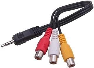 HDE 3.5 mm to Triple RCA Audio/Video AV Female Composite Stereo Splitter Cable Adapter