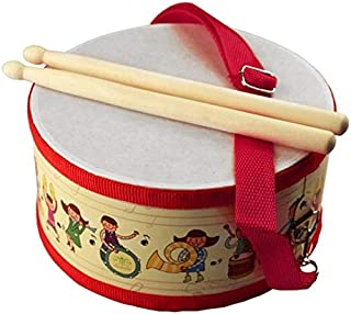 DishyKooker Drum Wood Kids Early Educational Musical Instrument for Children Baby Toys Beat Instrument Hand Drum Toys RED