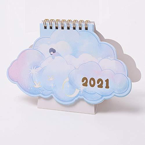 KanpeiGO 2021年 卓上カレンダー カラーインデックス 不規則 動物 カワイイ 少女 子ども(ブルー1)