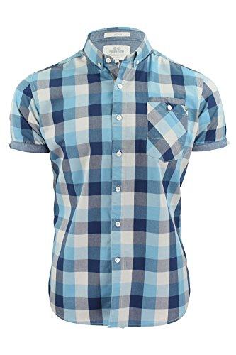 Chemise Pour Hommes par Crosshatch 'Morceau Carreaux' Manche Courte (Bleu) S