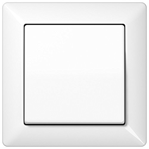 Komplett-Set Jung AS 500 Rahmen, 1-fach - Alpinweiß, glänzend mit Wippe + Wippschalter, Universal Aus-Wechsel -JUNG- -weiß-