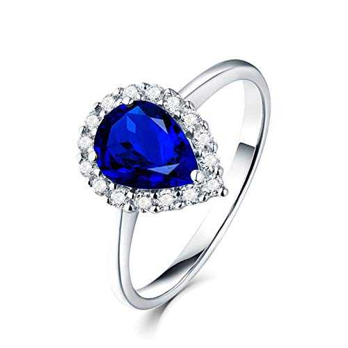 Aimsie Women's Teardrop Pear Cut Sapphire Engagement Ring with White Diamond 18 Carat White Gold Partner Ring White Gold Wedding Ring Blue 1.43ct