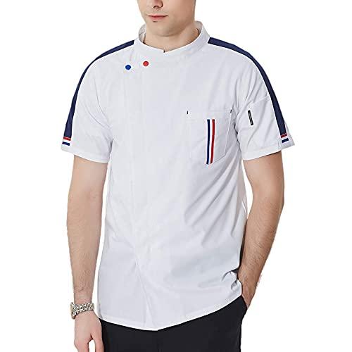 GAOSHENGWUJINGD Chef Coat Men Women Chef Coat Uniform with Pockets, Men or Women Short Sleeve Chef Coat, Summer Restaurant Hotel Working Jacket, Uniforms for Cook (Color : White, Size : B(L))