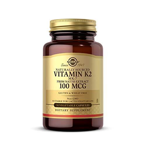 Solgar Vitamin K2 (MK-7) 100 mcg, 50 pflanzliche Kapseln – unterstützt die Knochengesundheit – natürliche Vollnahrungsquelle aus Natto Extrakt – ohne Gentechnik, glutenfrei – 50 Portionen